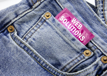 Handwriting Announcement text showing Web Solutions. Business concept for Internet Design Plan Written on condom pack put in small pocket to pants jeans.